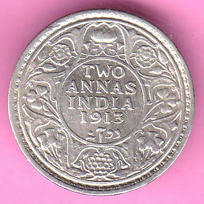British India-1913-Two Annas-King George V-Rarest Beautiful Silver Coin-76