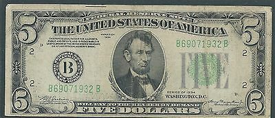 1934 $5 Federal Reserve Note Light Green Seal