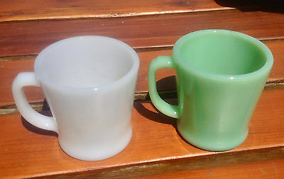 vintage lot of 2 Anchor Hocking Fire King mugs white and green