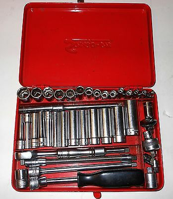 Snap-On 1/4 Inch Socket Set 42 Pieces +  Metal Case , Very Good Condition