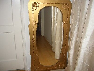 Large Antique Victorian Mirror With French Style Ornate Gold Frame
