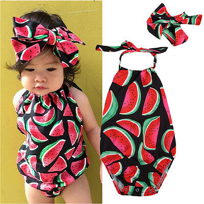 US Stock Newborn Baby Girls Watermelon Bodysuit Romper Jumpsuit Outfits Clothes