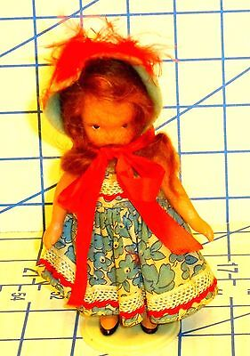 """Vintage 1940s Nancy Ann Storybook Little Betsy Blue 5"""" Bisque Doll w/Stand VG"""
