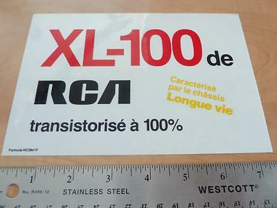 OLD 1970's RCA FRENCH XL-100 ADVERTISING STICKER