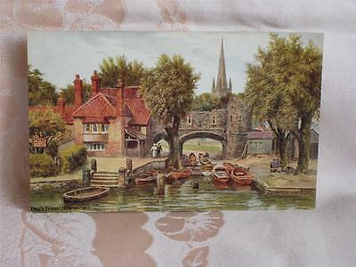 Old Art Pc, Pull's Ferry, Norwich, Signed A.r. Quinton, Beautiful Colors