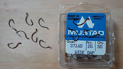 Mustad 37160, Size 20, Package of  50, Shrimp/Caddis, Wide Gap, Made in Norway