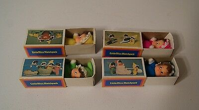 Set of 4 Vintage Fun World Little Miss Matchpack Mini Dolls