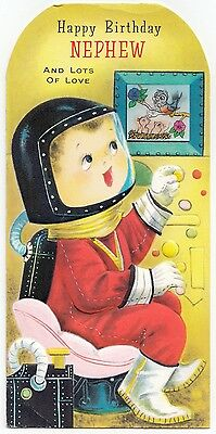 Vintage Greeting Card Birthday Little Boy Astronaut Space Lenticular Print