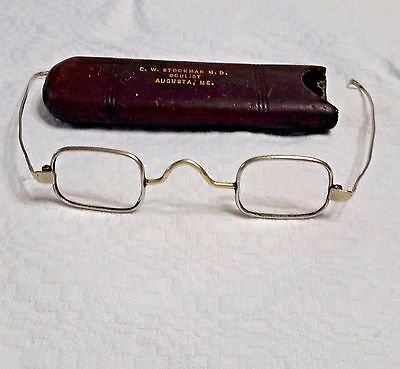 Antique  1870 10K  Gold Spectacles eyeGlasses..original Leather Case.Oculist..