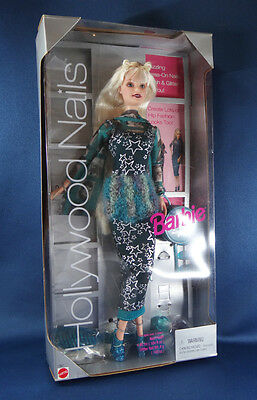 fun 1999 HOLLYWOOD NAILS BARBIE doll MATTEL blond teal outfit platform shoes MIB