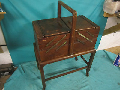 Vtg Accordian Fold Out 3 Tier Wood Sewing Box Basket W/Legs Antique CANTILEVER