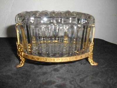 Antique Art Deco Gold Tone 3 Leg Design Band Pressed Glass Powder Vanity Jar