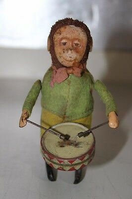 Antique Schuco Germany Tin Litho Wind Up Toy Drummer Monkey