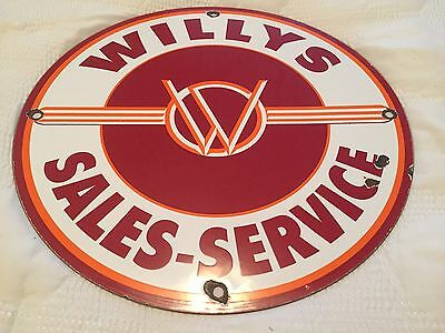 Willy's Sales & Service, Porcelain Sign, Auto, Jeep, Gas & Oil, Vintage