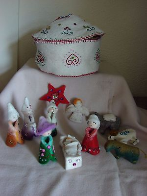 Special Hand Felted Wool Nativity Set 11 Figures + Pouch Waldorf Felt Christmas