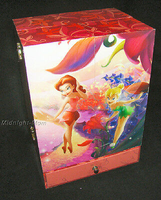 MUSICAL REAL Tinker Bell JEWELRY Box CABINET - 3 Drawers & MORE-Peter Pan DISNEY