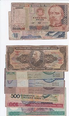 Argentina, Brazil, Ecuador, Peru & Venezuela: Banknote - Lot Of 32 Notes