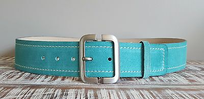 Banana Republic NWT Turquoise Suede Leather Brushed Silver Women's Belt