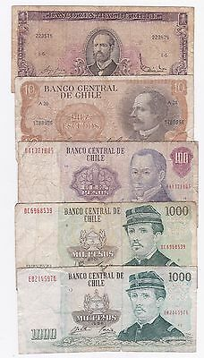 Chile: Banknote - Lot Of 5 Old Notes