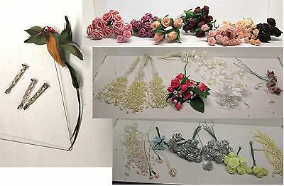 Craft Supply Lot Wired Ribbon Roses Flowers Beads Sprays Pink Silver Hummingbird