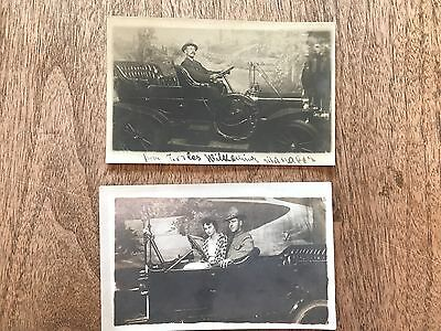 RPPC, Lot of 2, man and couple posing in vintage automobiles, real photo