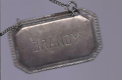 Vintage Sterling BRANDY BOTTLE HANG TAG w/Chain
