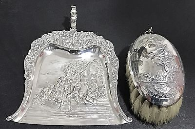 Antique Dutch Continental Silver Crump Tray And Brush , 1913