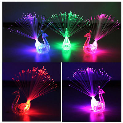 Flash Plastic Peacock Toy Colorful Tail Finger Light 3 Color Random for Kid