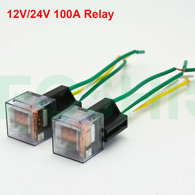 12V/24V Car Relay with Harness Socket 4-pin 60A SPST Normally Open Waterproof US