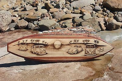 6 foot kombi vw volkswagen pyrography hollow wooden timber surfboard surfart