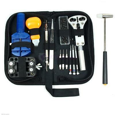 14pcs Watch Repair Tool Opener Hammer Link Remover Spring Bar Kit with Back Case