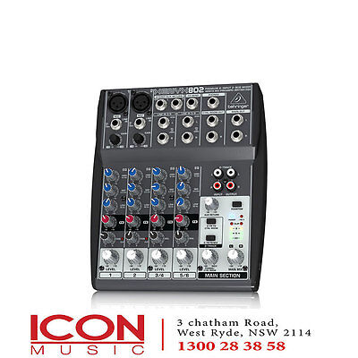 Behringer Xenyx 802 8 Input PA Mixer with Mic Pre-Amps