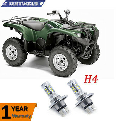 2X H4 2007-2015 Yamaha Grizzly LEDs Super White Foglights Bulbs Lamps