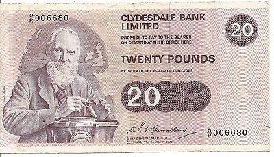 Scotland: Banknote - 20 Pounds 31.1.1979 P208 - Clydesdale Bank Limited - Scarce