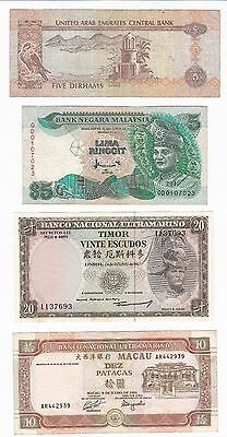 Uae, Malaysia, Timor & Macao: Banknote - Lot Of 4 Notes - (55)