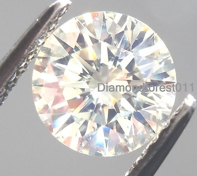 1.19 Carat  VVS1 Loose Moissanite 7.10 mm Off-White Yellow tint Round Brilliant