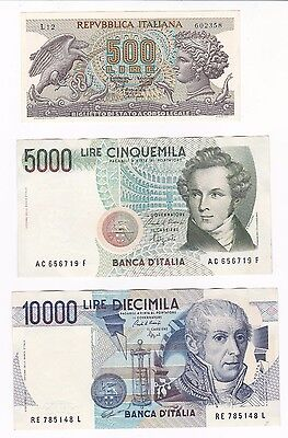 Italy: Banknote - 500, 5000 & 10000 Lire - 1966 To 1985 - Unc (26)