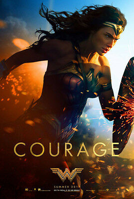 WONDER WOMAN MOVIE POSTER 2 Sided ORIGINAL Advance COURAGE 27x40 GAL GADOT