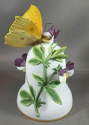"1983 Franklin Mint ""the Brimstone"" Butterfly Fine Bisque Porcelain Bell"