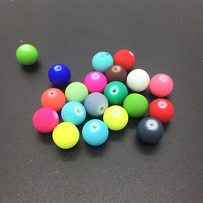 New 20pcs 10mm Charm Matte Rubber Neon Round Glass Spacer Loose Beads #XPZ26