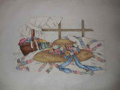 Cross Stitch Complete Large Hat With Flowers 54 X 40 Cm