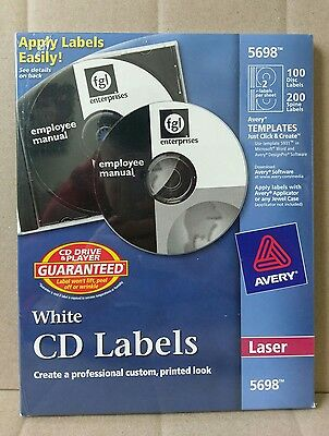 Avery CD Labels For Laser Printers White 100 Pack Disc Labels 200 Spine Labels