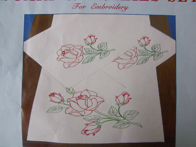 Preprinted Stamped Embroidery Doily Hand Stitching ROSES with Broadcloth Fabr...