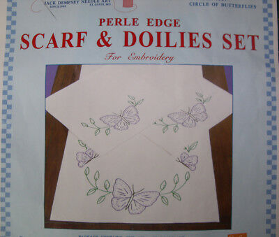 Preprinted Stamped Embroidery Doily Hand Stitching BUTTERFLIES with Broadcloth