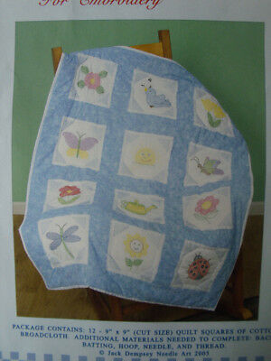 Preprinted Stamped Embroidery Quilting Blocks Stitching & X Stitch GARDEN Fabric