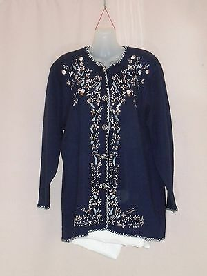 1960's Vintage Wool Cardigan with Embroidered Front.