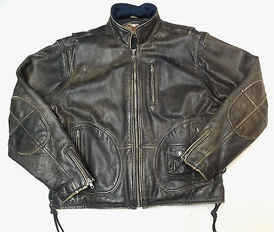 Harley Davidson Original Panhead Distressed Leather Jacket Vest Large Lg  22