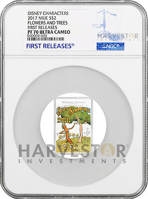 2017 Disney Poster Coin - Flowers And Trees - Ngc Pf70 First Releases - W/ogp