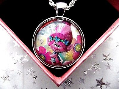 Trolls Poppy Pink  Round Bubble Dome  Silver Necklace Size 4,5,6,7,8,9Y Gift Box
