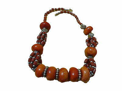 Handcrafted Berber Moroccan  Coral Amber Necklace